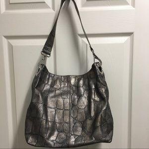 Kate Landry Pewter Croc Shoulder Leather Bag Purse